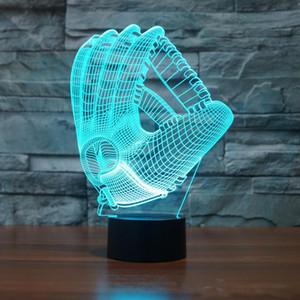 Guantes de béisbol 3D Luz nocturna visual Acrílico 3D LED USB 7 Cambio de color LED Lámpara de mesa Navidad