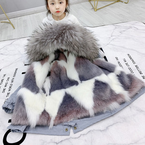Sundae Angel Girls Winter Coat Hooded Faux Fur Thicken Warm Children Jacket For Boy Parka Clothes Kids Outerwear 2-9 Years