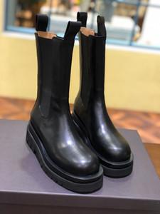 Lüks kadın platformu çizme tasarımcı bayan botları MID-BUZAĞI Çizmeli STORM CUIR marka kare ayak parmakları rahat rahat bayan botları