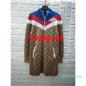 Moda Técnicas Vestidos Jersey Seda Lã Multicolor Viscose Mulheres malha shirt Brasão Outwear usar longo vestido estilo da rua das senhoras