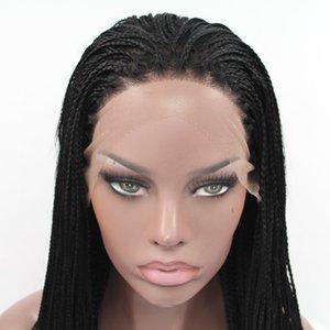 Synthetic 1b # Cor trançado rendas frente perucas para mulheres resistente ao calor Cabelo Fibra Wigs premium Braid Wig