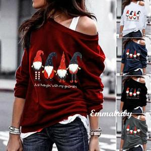 Manica lunga da Donna Felpa Merry Christmas Pullover Tops Oblique spalla delle signore stampato Moda Top Felpe Abbigliamento
