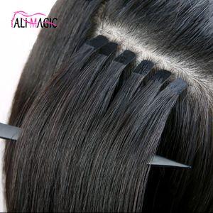 Última Remy Cinta Invisible en las extensiones trama de la piel de la cinta del pelo Extensiones Volver Brown Rubia 100g Virign brasileña del pelo indio