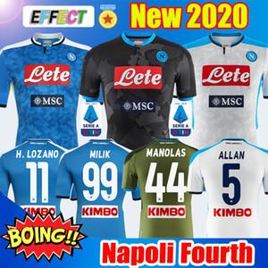 새로운 2019 2020 세리에 A 나폴리 나폴리 4 축구 유니폼 홈 블루 Foruth 축구 유니폼 셔츠 남성 19 20 로자노 시크 L.INSIGNE 세 번째 키트