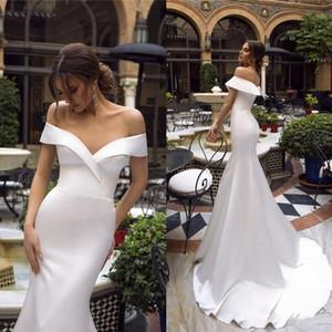 2020 새로운 간단한 여름 저렴한 화이트 오프 어깨 인어 웨딩 드레스 새틴 스윕 기차 플러스 Szie 비치 보헤미안 신부 드레스