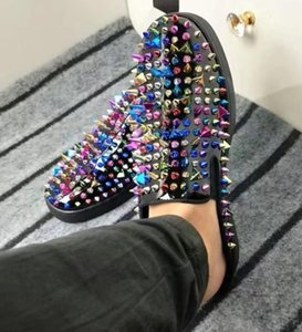 2019 Новый мужской женский дизайнерский бренд Red Bottom Sneakers обувь Тапочки типа шипованные шипы обувь на плоской подошве Свадьба повседневная обувь c1