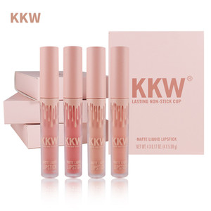 4PCS bellezza smaltato Set rossetto nude opaco Liquid Moisturizing Lip Gloss impermeabile del rossetto delle labbra smalto impostare Lip Gloss