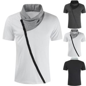 남자의 캐주얼 슬림-colorblock 더미 칼라 T 셔츠 남성 캐주얼 짧은 컬러 블록 Turtle Neck T-셔츠 피트니스