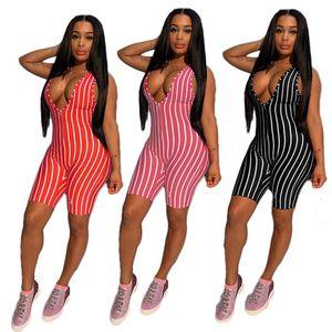 Les femmes concepteur de vêtements à rayures d'été salopette Jumpsuit style nouveau barboteuses V-cou mince impression de short S-XL capris chaud vendre DHL 2803