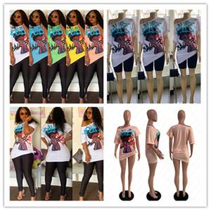 Las mujeres imprimen las camisetas de cuello del hombro del diseño de la camiseta de manga corta oblicua atractiva de la blusa del suéter Tops verano de las muchachas largo ocasional Tees D52513