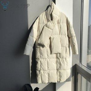 Escudo de gran tamaño abajo algodón HXJJP 2019 de invierno nuevos mujeres con pañuelo de algodón largas chaquetas