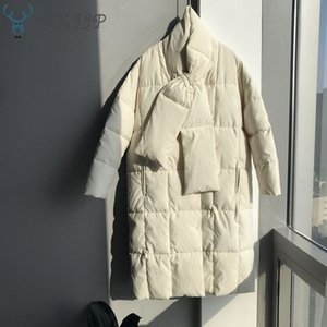 HXJJP 2019 Winter New Women's Oversize Down Cotton Coat with Neckerchief Cotton Long Jackets
