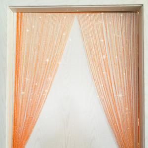 Linha de prata brilhante Tassel flash Cadeia Cortina Janela Porta Divisor Sheer Curtain decoração Home Tópico 0.95x1.95m