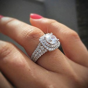 Super Shiny Zircon Wedding Band Engagement Ring For Women Square Ring Silver Plated Anniversary Gifts