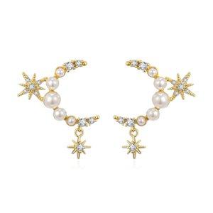 pendientes pérola jóias Zircon Moon Star Pendant Brinco Para Mulheres Gold Silver Cor Copper Brinco Moda mujer 2019