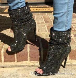 Charm2019 Bling Bling Crystal Botines Mujer Peep Toe Slip-on Botas cortas Sexy Rhinestone negro tacones de aguja zapatos de vestir Envío gratis