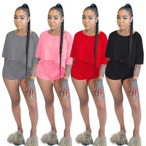 2020 Summer Women Sportwear Two Piece Sets New Fashion Casual O-Neck Short Batwing Sleeve Solid Tracksuits Sets Workout Outfits