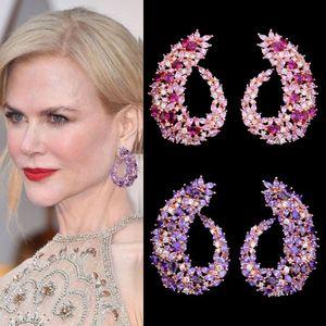 Joyería GODKI famoso diseño popular flor geometría completa Mirco pavimentada circonio cúbico boda pendiente de la moda