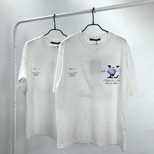 20ss francesi ultima primavera estate di buona qualità Blu cielo nuvole bianche stampa della maglietta confortevoli progettista del mens Tee 02