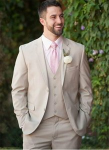 Awesome Beige Mens suits For Groom Notched Lapel Wedding Tuxedos Blazer Coat Pant And Vest 3 piece Best Groom Tuxedos Tailcoat For groomsman