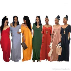 Women Designer Dress Women S Solid Loose Shoulder Short Sleeve Pocket Casual Maxi Dress Summer