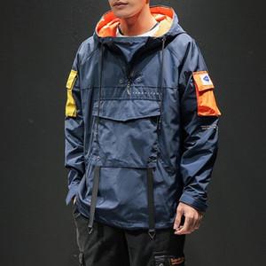 고품질 데님 자켓 남성은 남성 중위 블루 진 재킷 새로운 2019 가을 / 겨울 의류가 남성 데님 코트 DT191030 씻어 구멍 찢어진