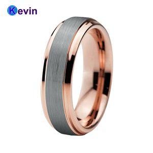 Bague de mariage bague en or rose tungstène pour hommes et femmes bande 6mm J190715
