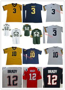 Erkek NCAA Michigan Wolverines Tom Brady Jersey Dikişli 3. Rashan Gary Green Bay # 12 Tom Brady, New England Jersey S-3XL