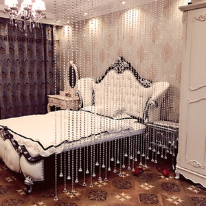 Luxury Translucidus Crystal Curtain Flash Line Shiny Solid Beads String Door Curtain Window Room Divider for Home Decoration cortinas