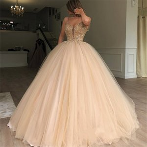 Ouro lantejoulas Prom Dresses 2019 Spaghetti vestido de baile frisada Debutante Masquerade Vestidos De aniversário do doce 16 de Quinceanera Vestidos