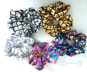 Women Girls Mermaid Laser Hair Scrunchie Handmade Ponytail Holder Scrunchies Hair Accessories Hair Band Hairbands Wrist Ankle Ties C121801
