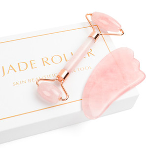 Jade Roller for Face, 2 in 1 Jade Roller Massager Set Including Rose Quartz and Gua Sha Scraping Tool,Jade Facial Anti Aging Face