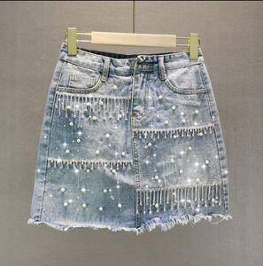 2020 Summer Denim Skirt Womens Heavy Beaded Rhinestone Tassel high waist Mini Skirt Jean Jupe Mujer r991