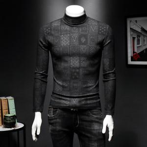 2019 meia gola alta pulôver listrado pura lã camisola T-shirt de mangas compridas nova tendência outono e inverno grossa dos homens