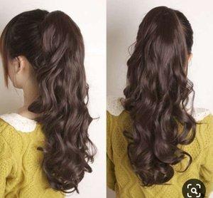 100 clip umana in involucro Coda di cavallo di estensione intorno per le donne ricci ondulati lunghi capelli soffici coda di cavallino 24 pollici - 160g Brown