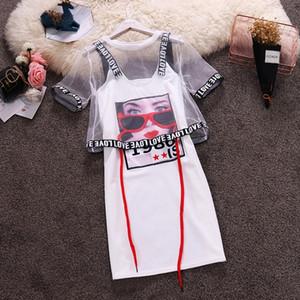 비치 캐주얼 여성 정장 메쉬 관점 쇼트 + 문자 스파게티 스트랩 인쇄 패턴 미니 T 셔츠 드레스 2 개 세트 T200117 탑