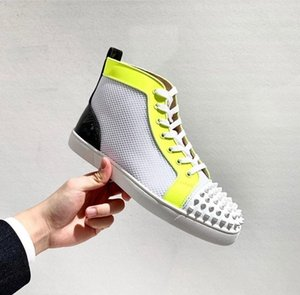 New Luxury Designer Spikes Orlato Casual Men's High Top Red Bottom Sneakers Shoes Mesh Leather Skateboard Walking Brand Party Wedding