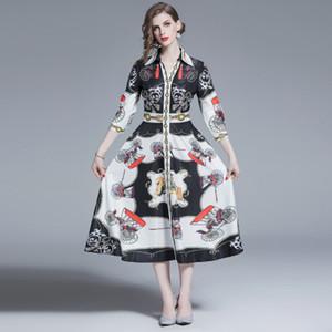 2019 Moda Zarif Baskılı Elbise kadın, 3/4 Uzun Kollu Yaka Boyun Vücut zayıflama Stil Günlük Elbiseler, Yaz Etekler