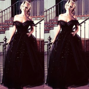 2020 vestido de bola Negro gótico vestidos de noche del hombro y espalda abierta de la celebridad del vestido formal Perlas de lentejuelas Marilyn Monroe Oscar