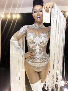 Nu Sexy Tassel Cosplay Blanc Costume Bodysuit Vêtements strass Performance femmes tenue Stage Show Dance Party Wear