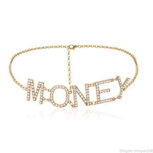 Chains barriga da cintura Cadeia Multilayer Corpo Vintage Mulheres Declaração Retro Party Dress Jewelry Acessórios de cristal Rhinestone Carta cinto de dinheiro