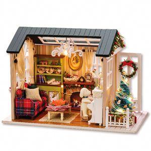 Doll House Miniature DIY casa de bonecas com mobiliário de madeira Casa brinquedos para crianças de aniversário T200116 presente