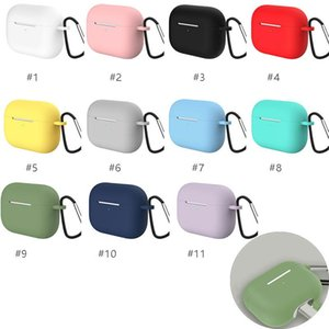 Silicone Case for AirPods Pro, Soft Cover for AirPods 3 Bluetooth Earbuds Wireless Charging Box Protective Cover with Hook