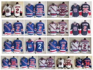 Vintage New York Rangers Trikot 2 Brian Leetch 35 Mike Richter 36 Glenn Anderson 75. Jahrestag Blau Weiß CCM Retro Hockey Trikot