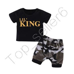 Meninos Rei Letras de manga curta T-shirt + camuflagem Shorts Outfits Verão Tops T Curto Calças Two Piece Set Kids Clothing CZ312