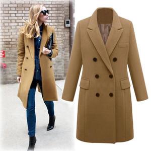 Cappotto Donne 2019 lana solido casuale Giacche Blazer femminile elegante 9m3 Doppio Petto Lunga signore cappotto più il formato Abrigo