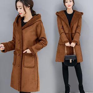 ALABIFU-Pelz-Mantel-Frauen-Winterjacke 2018 beiläufige Hoodies Langarm Lambswool-Jacken-Mantel Frauen Overcoat Plus Size 3XL