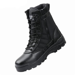 أحذية جلدية القتالية للرجال المشاة التدريب التكتيكي أحذية الكاحل الأحذية القتالية خمر