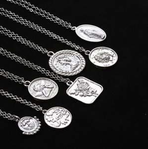 Jewelry creative multi-element personalized pendant necklace women's simple relief single-layer necklace