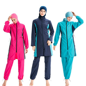 2019 Muslim Women Swimwear Hijab Modest Swimsuit islâmica completa Tampa Beachwear burkini de banho Árabe Ternos 3PCS Define conservador
